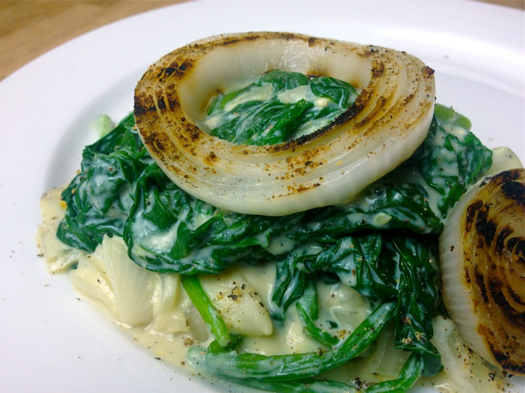 Wicked Creamed Bunched Spinach, Potato & Grilled Onion - Another alternate use for this Awesome Sauce!