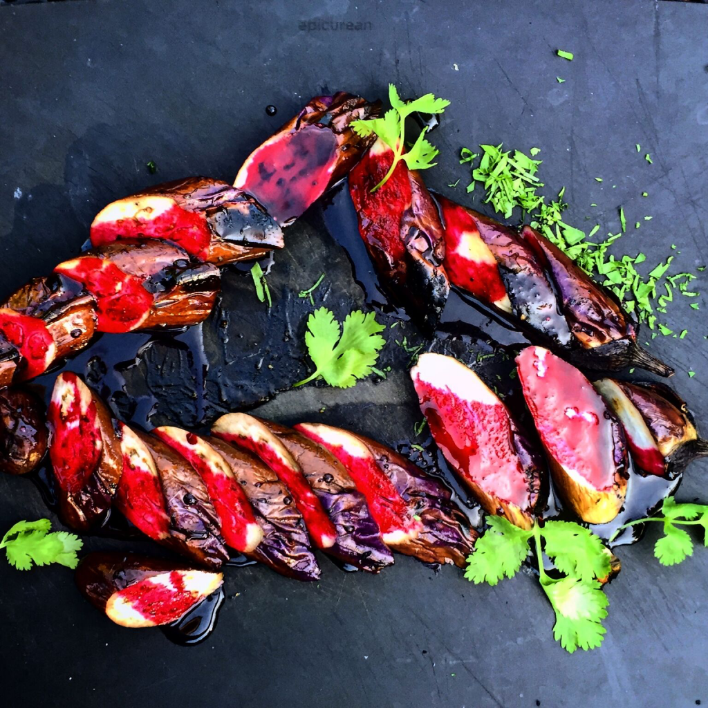Grilled Applewood Smoked Chinese Eggplant Loins with Beet Blood