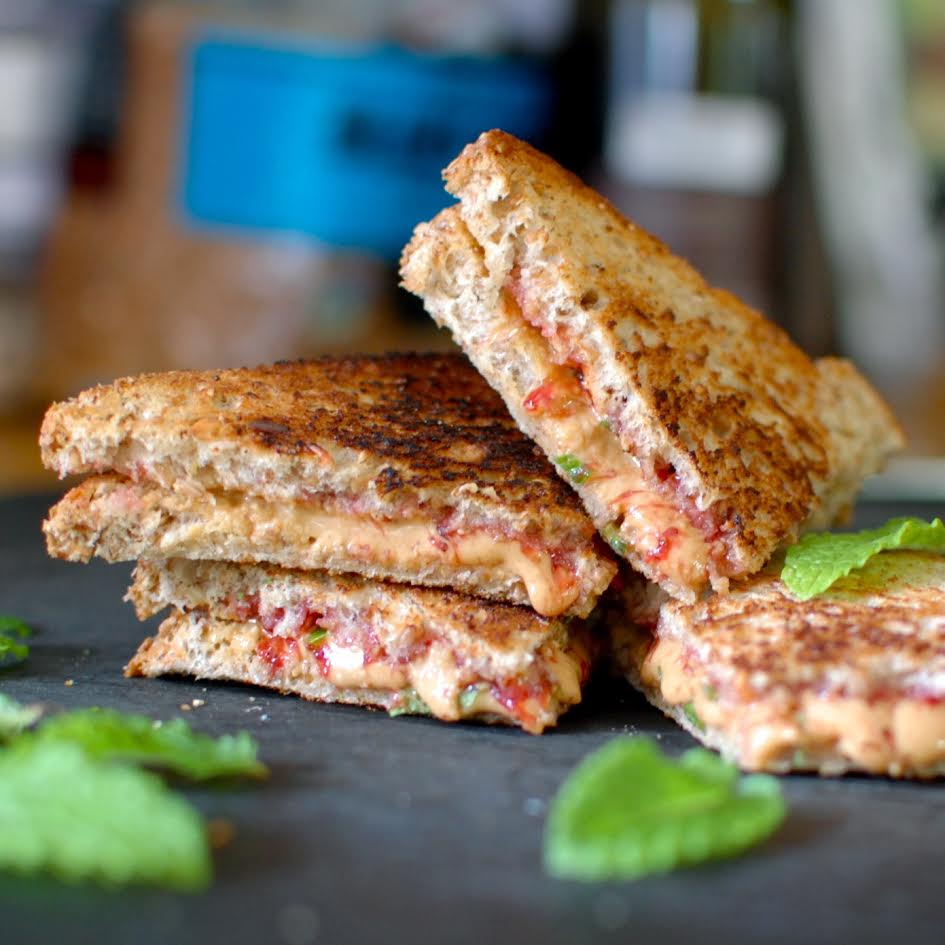 Grilled Almond Buttah and Fresh Berry Sandwiches