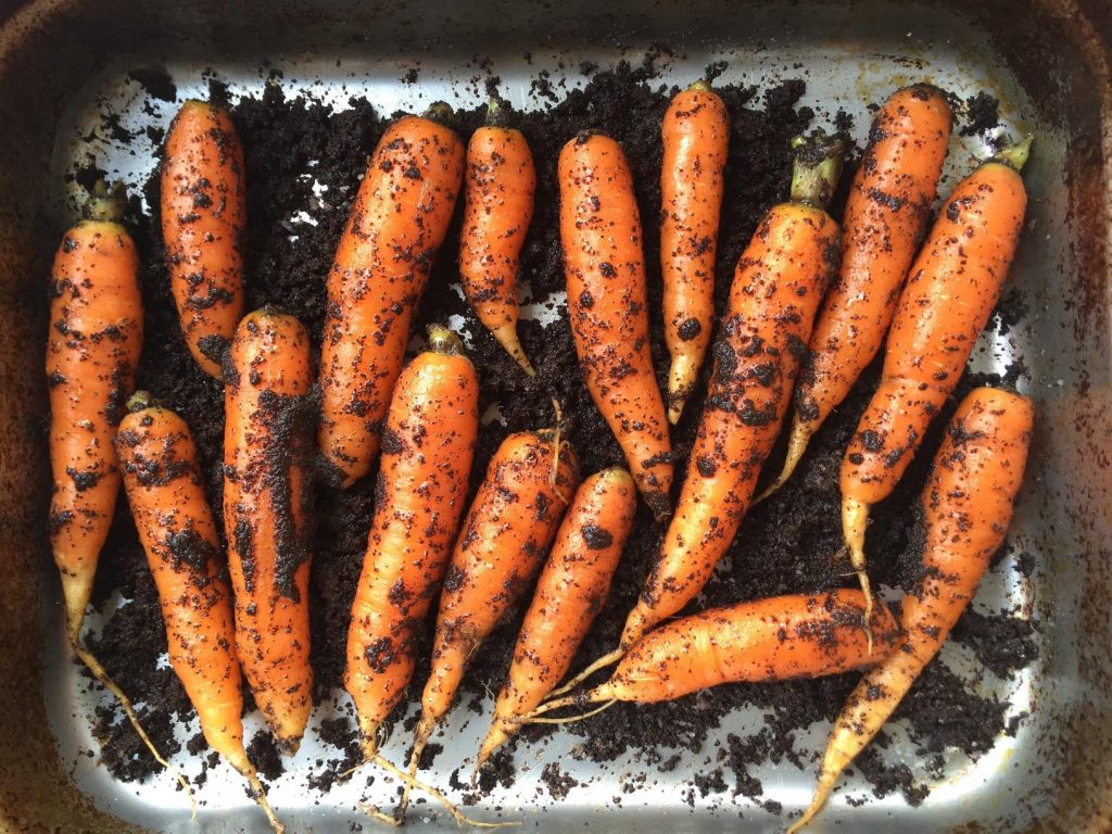 Salted Coffee Dirt-Roasted Carrots