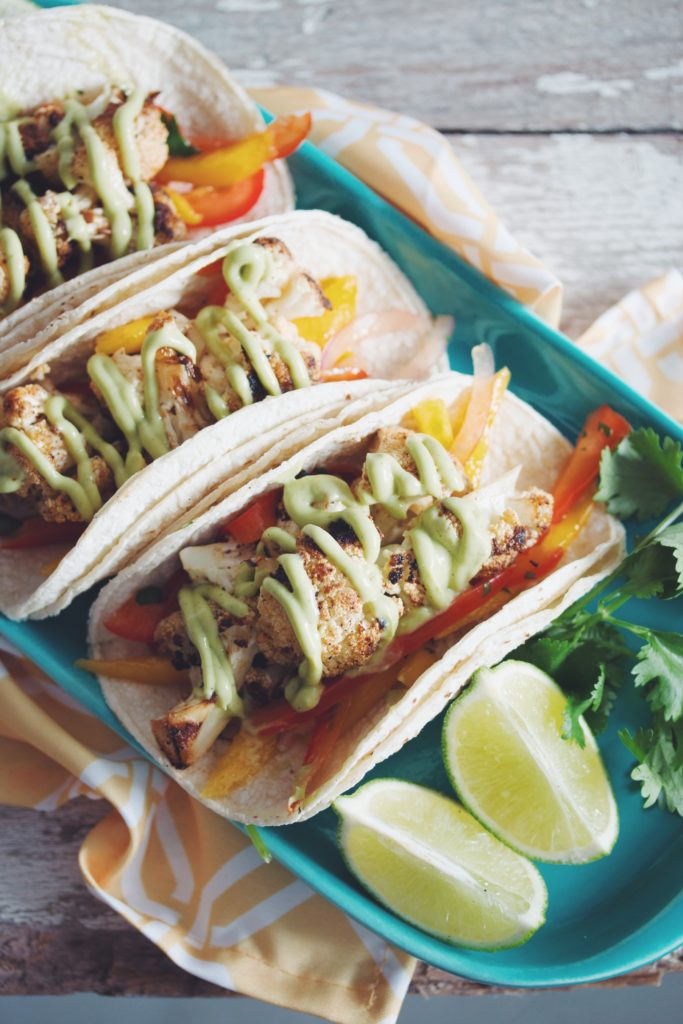 hot for food | grilled cauliflower tacos with mango slaw & avocado crema
