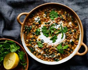 green lentil and spinach dal one pan recipe