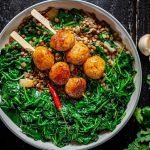 garlic lentils and chickpea meatballs