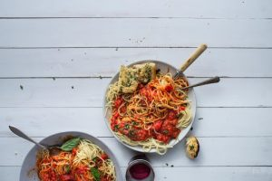 plant based fresh pasta and red sauce