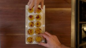 complete plated butternut squash bisque shooters
