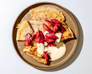 vegan crepe with roasted rhubarb recipe final plated